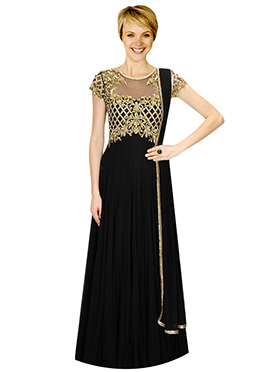 Black Embellished Georgette Anarkali Suit
