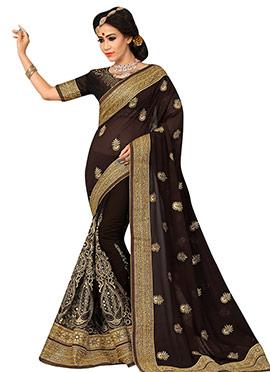 Black Embroidered Half N Half Saree