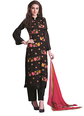 Black Embroidered Straight Pant Suit
