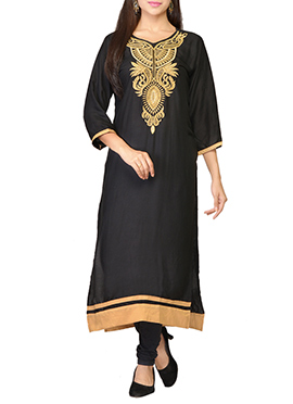 Black Embroidered Viscose Long Kurti