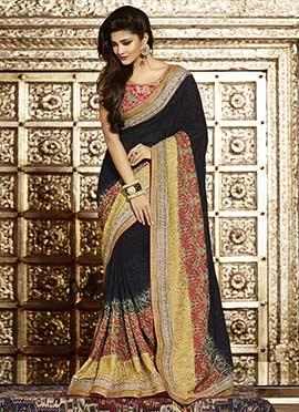 Black Foliage Embroidered Saree