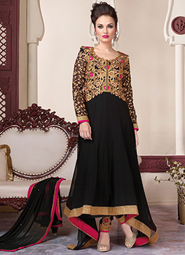 Black Georgette Asymmetrical Anarkali Suit