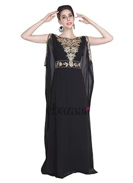 Black Georgette Embroidered Fustan Dress