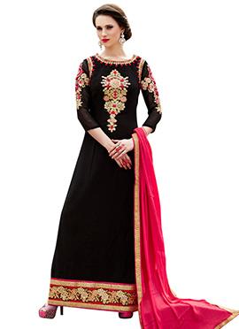 Black Georgette Embroidered Pakistani Suit