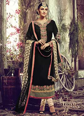 Black Georgette Embroidered Straight Suit