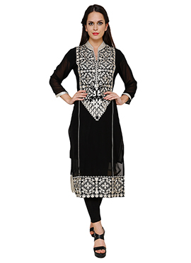 Black Georgette Long Kurti