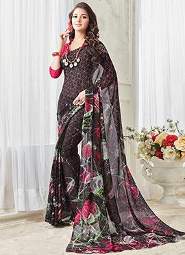 Black Georgette Printed Saree
