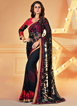 Black Half N Half Saree