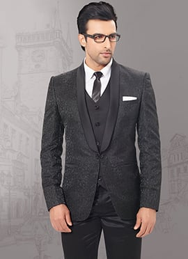 Black Imported Fabric Lapel Suit
