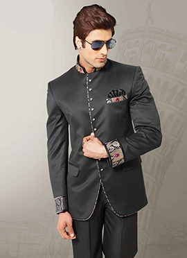 Black Imported Fabric Bandhgala Suit