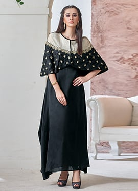 Black Indowestern Cape Suit