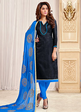 Black Jacquard Churidar Suit