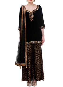 Black Moonlight Velvet Palazzo Suit