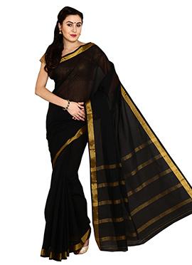 Black Mysore Cotton Saree