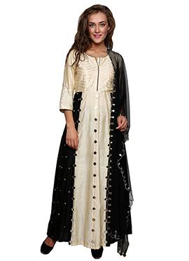 Black N Beige Cotton Silk Anarkali Suit