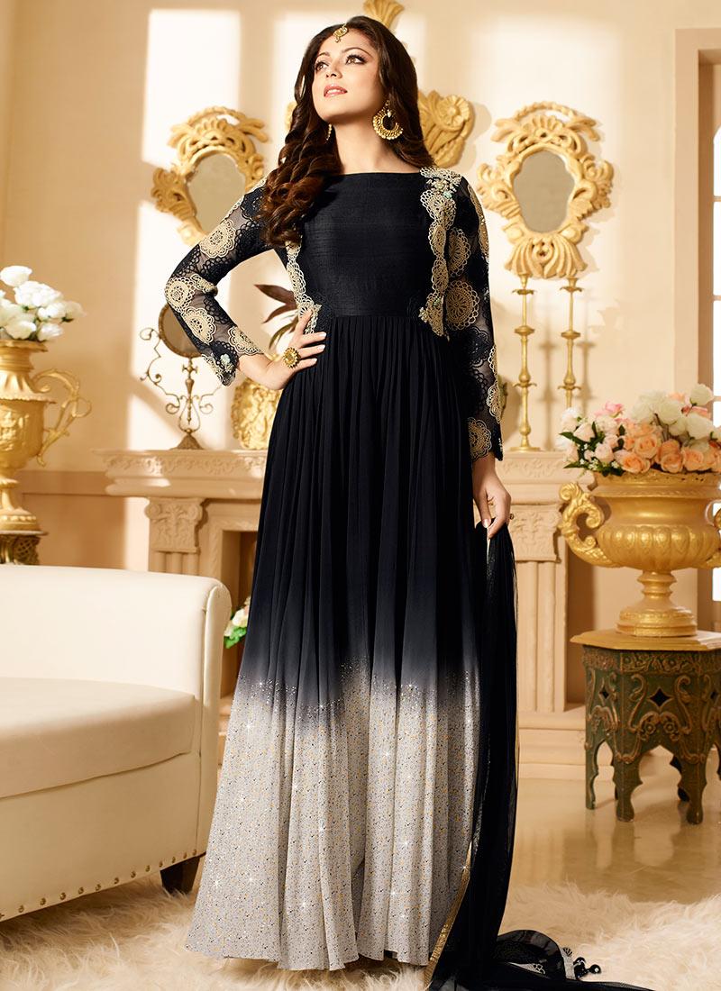 Black N Beige Drashti Dhami Anarkali Suit