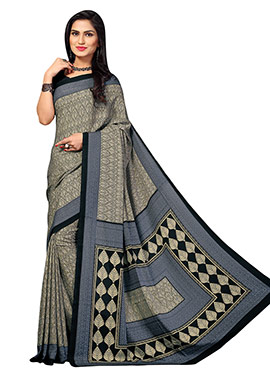 Black N Beige Printed Crepe Saree