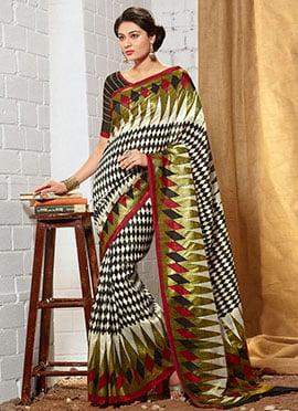 Black N Cream Art Silk Printed Saree