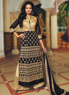 Black N Cream Blend Cotton Straight Suit