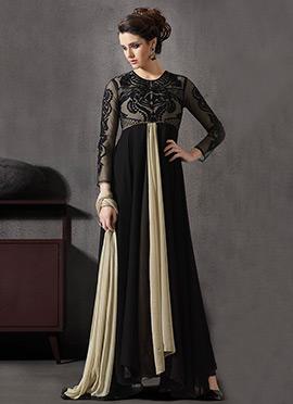 Black N Cream Centre Slit Anarkali Suit
