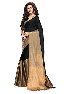Black N Dark Gold Blended Cotton Border Saree