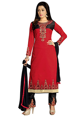 Black N Deep Red Chanderi Silk Straight Pant Suit