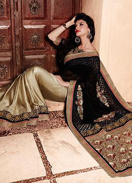 Black N Gold Color Half N Half Saree