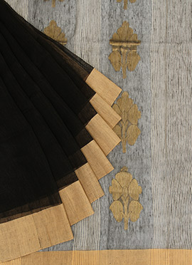Black N Gold Cotton Saree