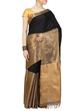 Black N Gold Silk Cotton Saree
