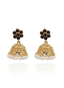Black N Gold Stone Studded Jhumkas