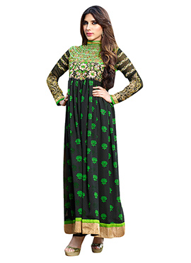 Black N Green Ankle Length Anarkali Suit