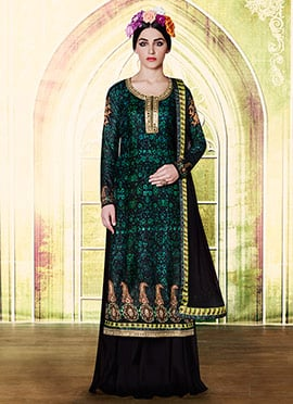 Black N Green Embroidered Palazzo Suit