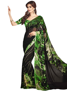 Black N Green Printed Saree
