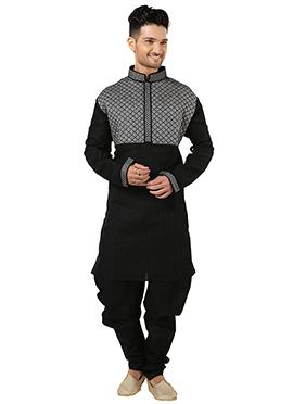 Black N Grey Art Silk Kurta Pyjama