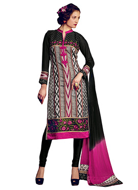 Black N Grey Churidar Suit