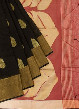 Black N Maroon Cotton Saree