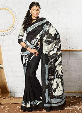 Black N Off White Art Silk Printed Saree