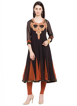 Black N Orange Georgette Embroidered Anarkali Kurt