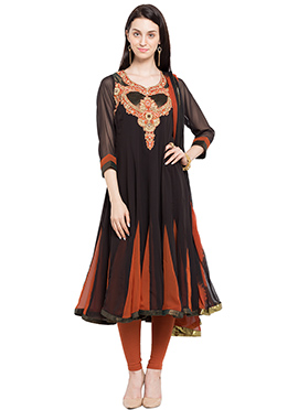 Black N Orange Georgette Embroidered Anarkali Suit