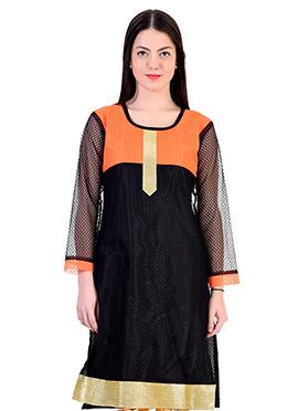 Black N Orange Net Kurti