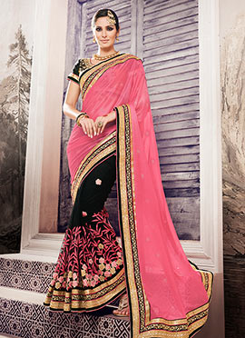 Black N Peach Half N Half Saree