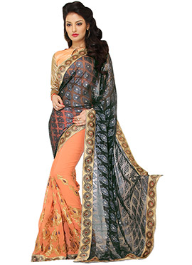 Bottle Green N Peach Half N Half Saree