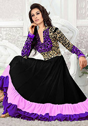 Black N Pink Georgette Anarkali Suit