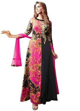 Black N Pink Satin Silk Anarkali Suit