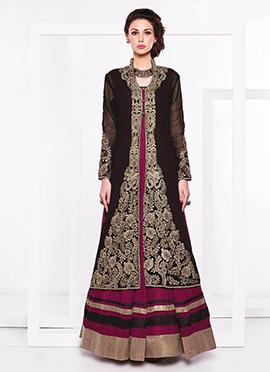 Black N Purple Jacket Floor Length Anarkali