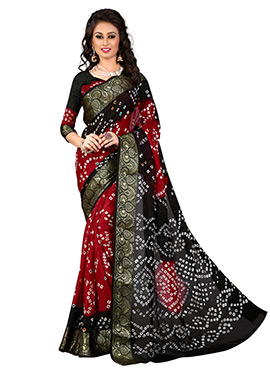 Black N Red Cotton Silk Bandhini Saree