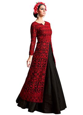Black N Red Embroidered Long Choli Lehenga