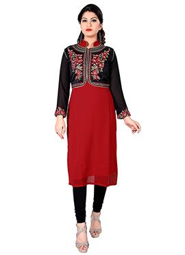 Black N Red Georgette Jacket Style Kurti