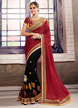 Black N Red Half N Half Saree