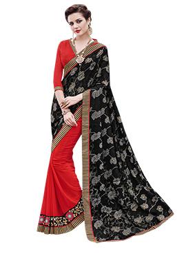 Black N Red Half N Half Saree